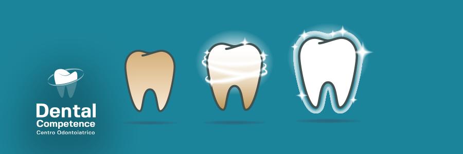 Immagine processo sbiancamento dentale e logo Dental Competence Grosseto